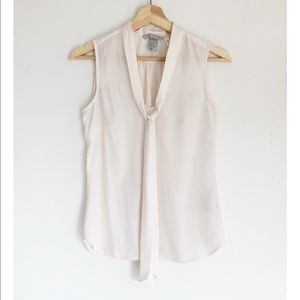 H&M Ivory Sleeveless Loose Fit Neck Tie Blouse